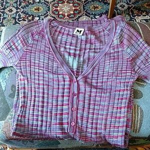 Missoni Purple Pink Blue Stripe Knit Dress M 40